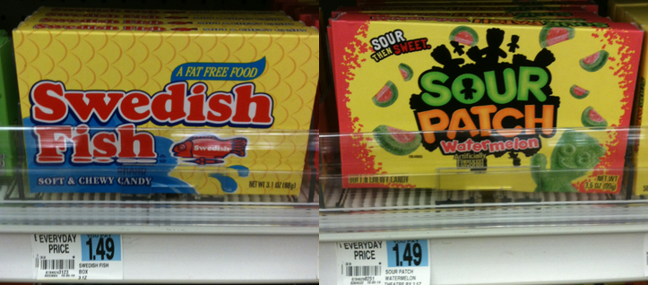 Swedish fish or sour patch kids theater size candy only for Sour swedish fish
